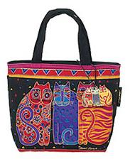 Laurel Burch Feline Friends Canvas Mini Square Tote Black