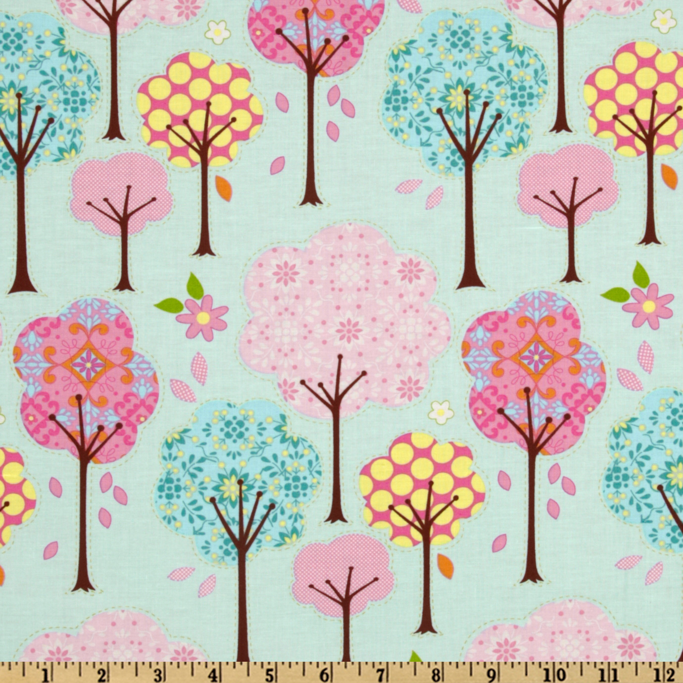Pretty Little Things Trees Blue Fabric