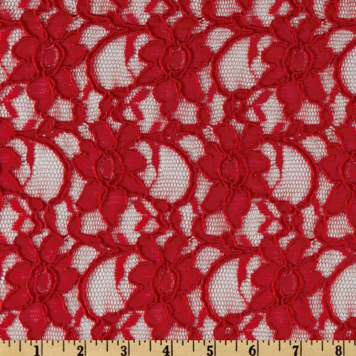 Xanna Floral Lace Fabric Red