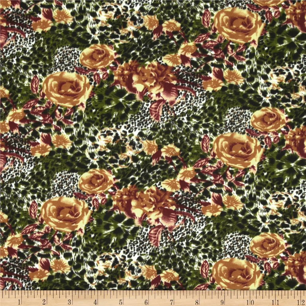 Jungle Safari Broadcloth Cheetah Rose Olive