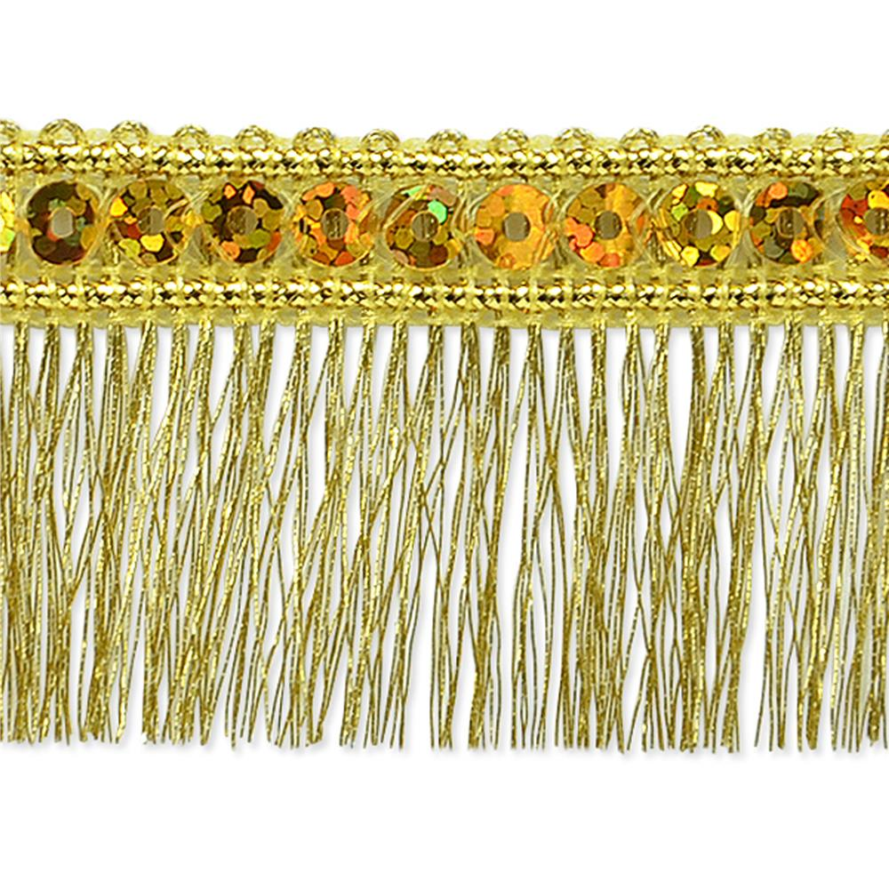 "1 1/4"" Ester Sequin Metallic Fringe Trim Roll Gold"