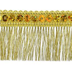 1 1/4'' Ester Sequin Metallic Fringe Trim Roll