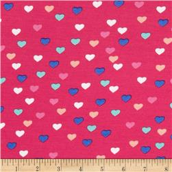 Dakota Stretch Rayon Jersey Knit Hearts Pink