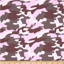 Cotton Twill Camo Pink/Khaki/White Fabric