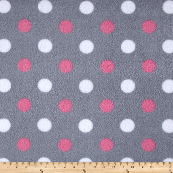 Simply Happy Dot Fleece Grey/Pink Fabric By The Yard