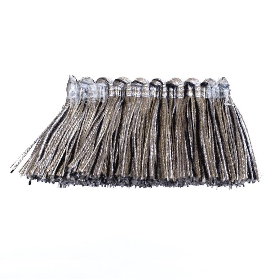 "Fabricut 1.5"" Escargot Brush Fringe Black Pepper"
