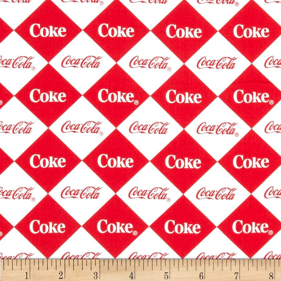 Coca Cola Argyle Allover Red/White Fabric