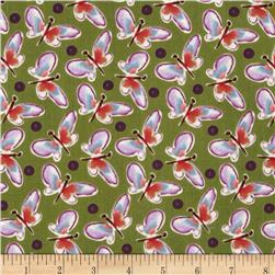 Blossoming Butterfly Roundup Grape Fabric