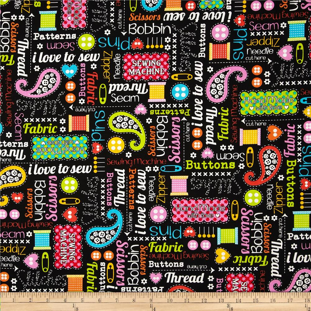 Kanvas made with love sewing words black discount for Cheap sewing fabric
