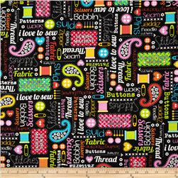 Kanvas Made with Love Sewing Words Black