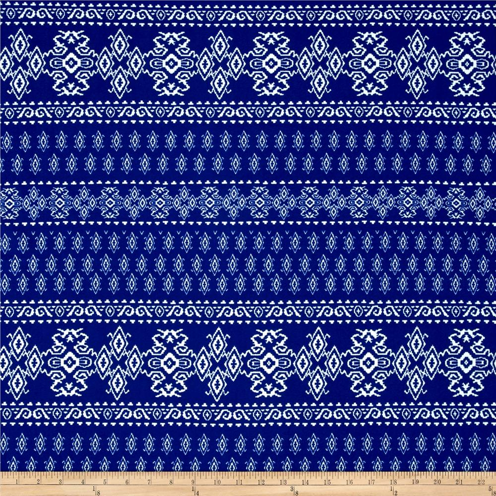 Liverpool Double Knit Print Geo Ethnic Royal/Off White