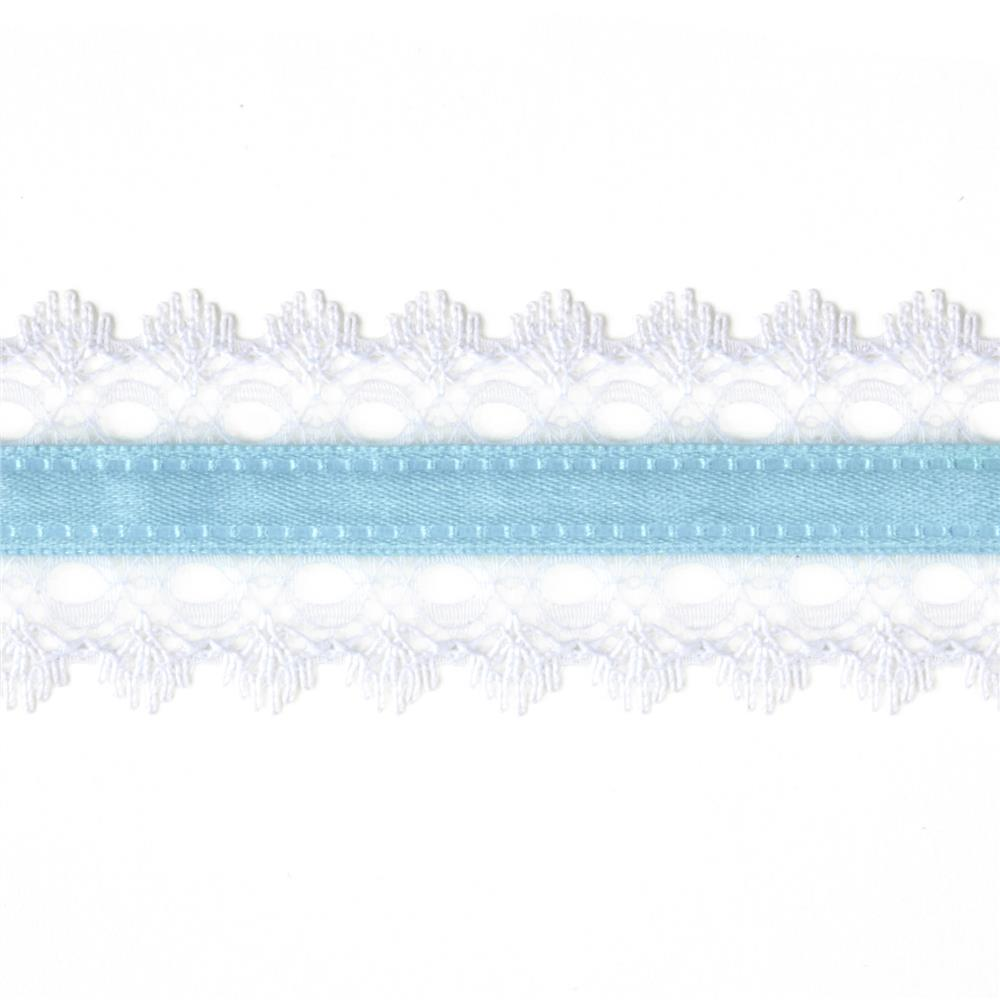 "1 1/2"" White Lace Satin Center Ribbon Light Blue"