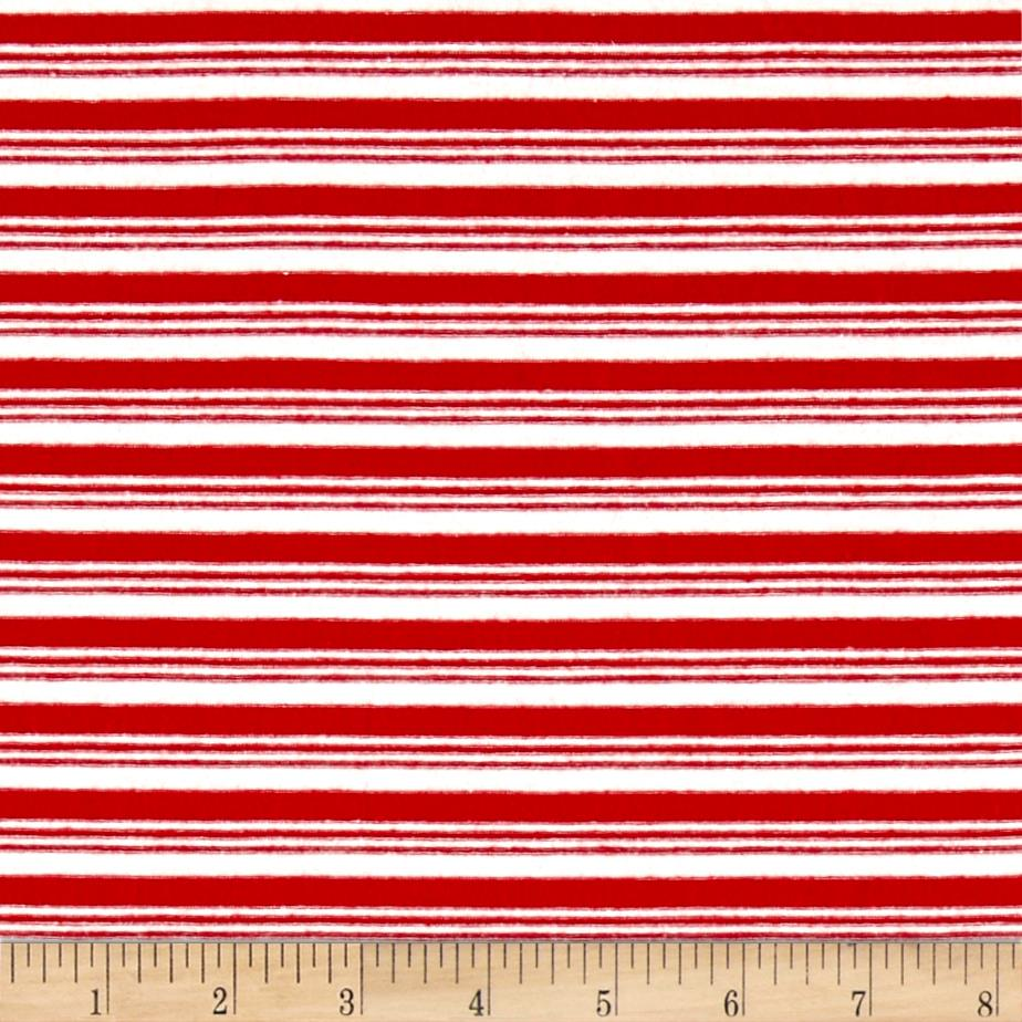 Jersey Knit Double Striped Red/Ivory Fabric