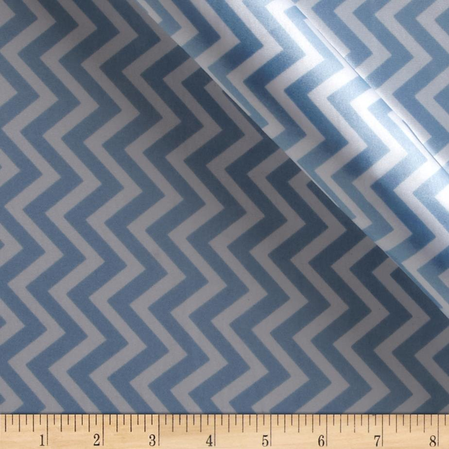 Charmeuse Satin Chevron Baby Blue/White