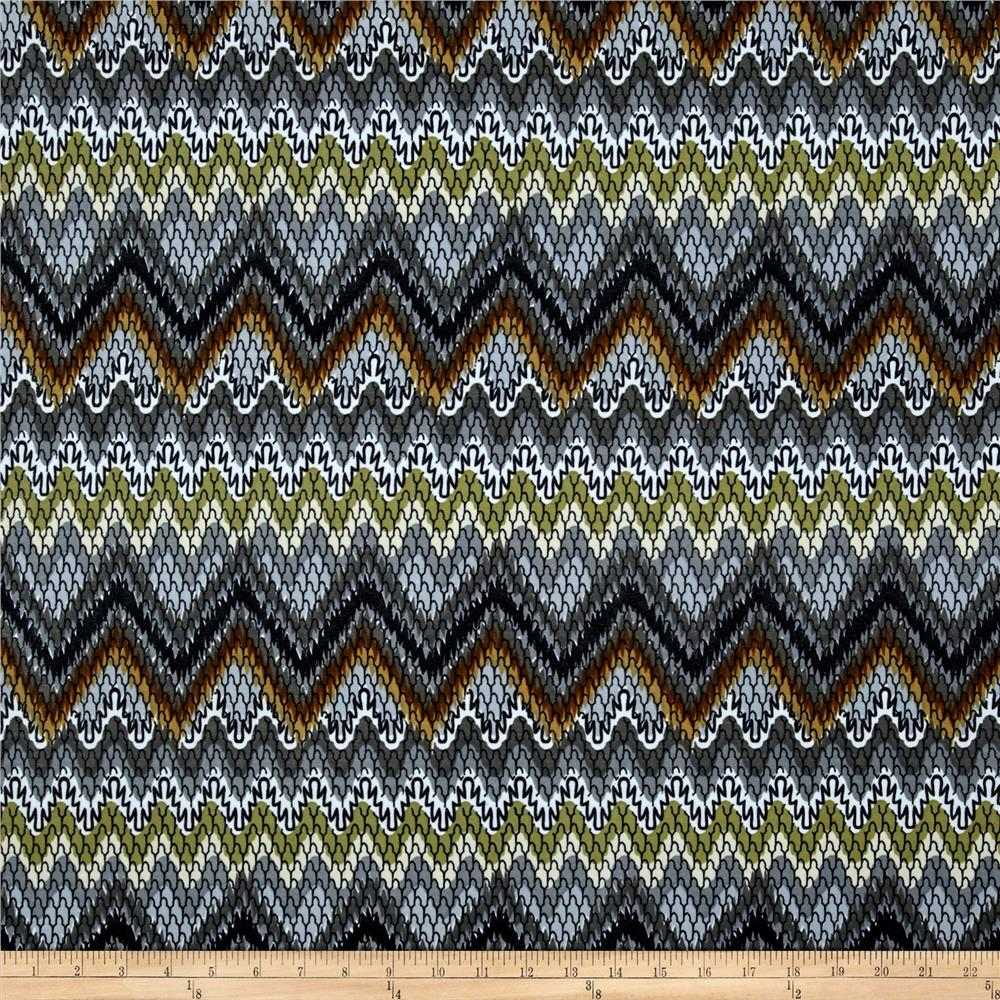 Stretch ITY Jersey Knit Abstract Chevron Blue/Brown