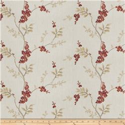 Fabricut Linen Embroidered Twill Brookdale Garnet