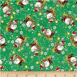Season's Greetings Jolly Santas Green