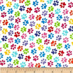 Timeless Treasures Flannel Paws Multi