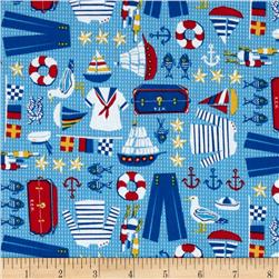 Timeless Treasures Hey Sailor Nautical Motifs Blue