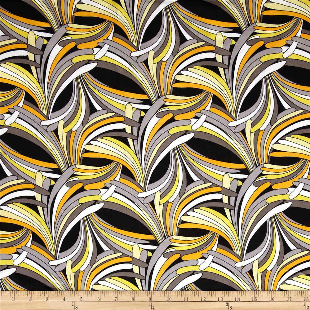 Charmeuse Satin Abstract Yellow/Grey