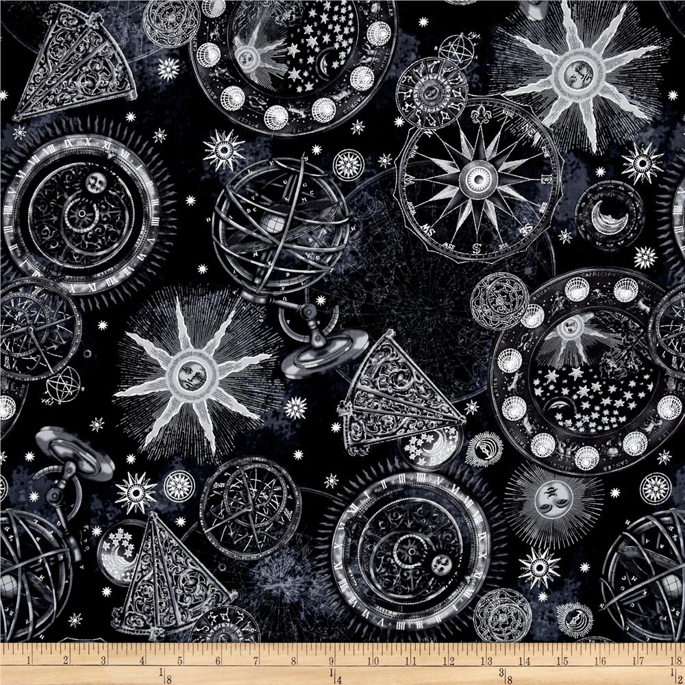 Star gazing metallic celestial black silver discount for Star design fabric