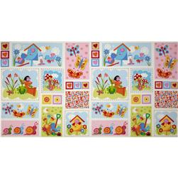 Birds, Bugs, & Flowers Large Blocks Panel Pink/Blue