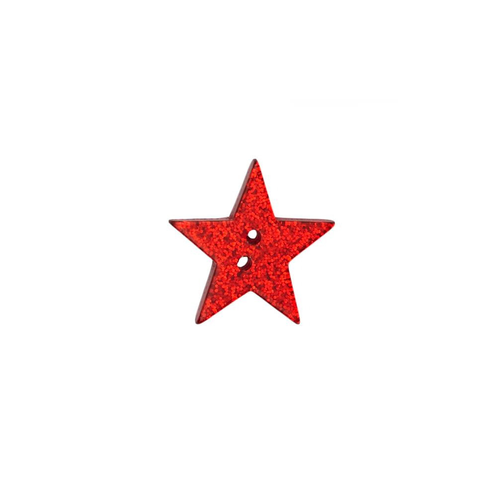 "Novelty Button 1"" Rising Star Red"