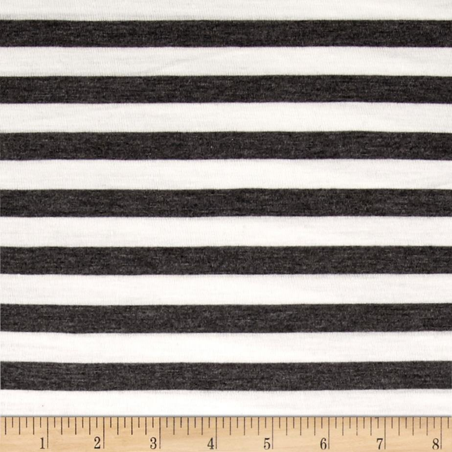 Rayon Jersey Knit 1/2'' Stripe Charcoal/Off White Fabric By The Yard
