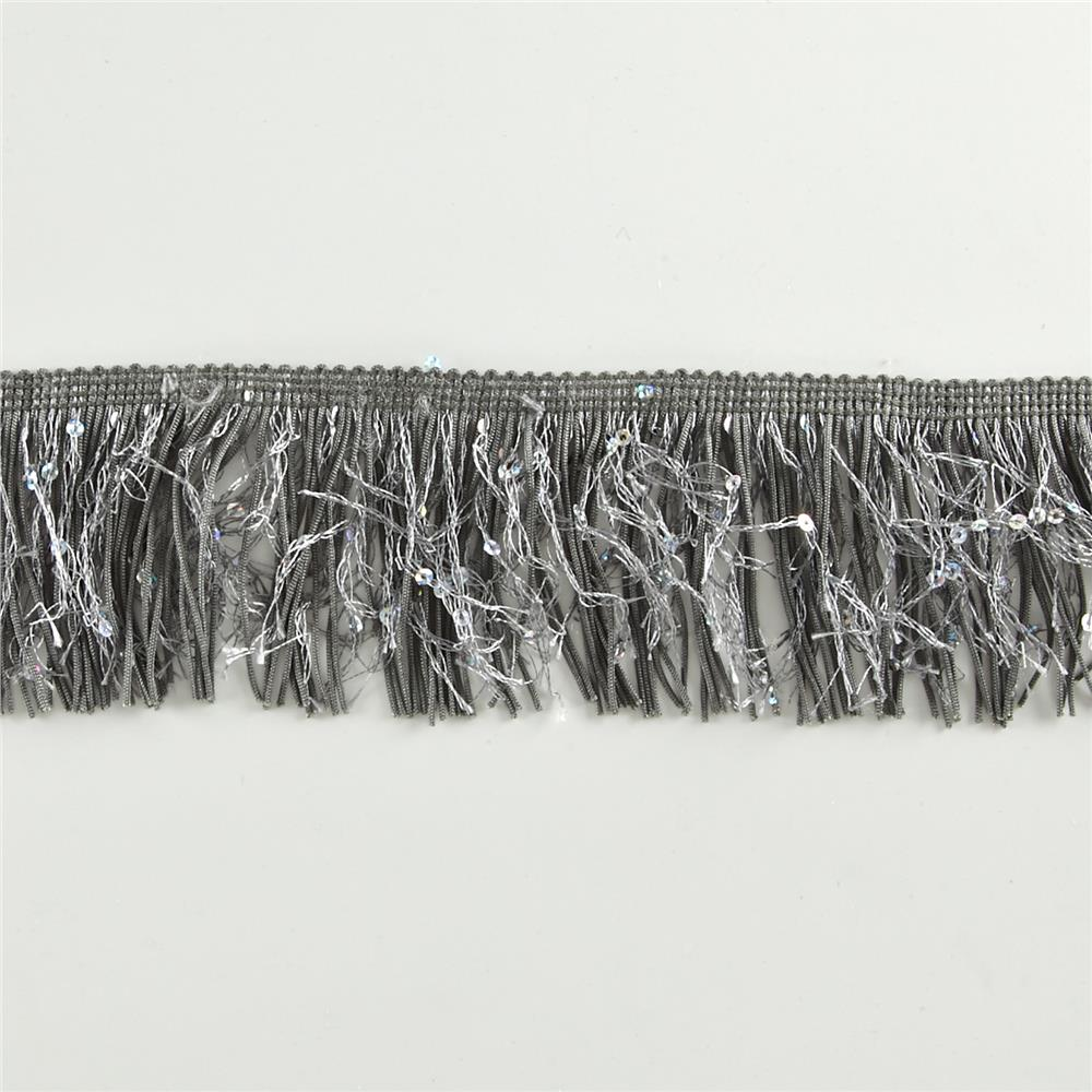 "3"" Sequin Chainette Fringe Starlight Hologram Trim Pewter"
