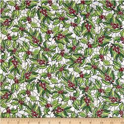 Stained Glass Christmas Holly Frost/Silver Fabric