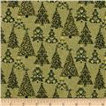 Homespun Holiday Metallic Trees Green
