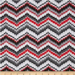 Comfy Flannel Chevron Red/Grey/Black Fabric