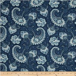 Waverly Little Falls Paisley Indigo Fabric