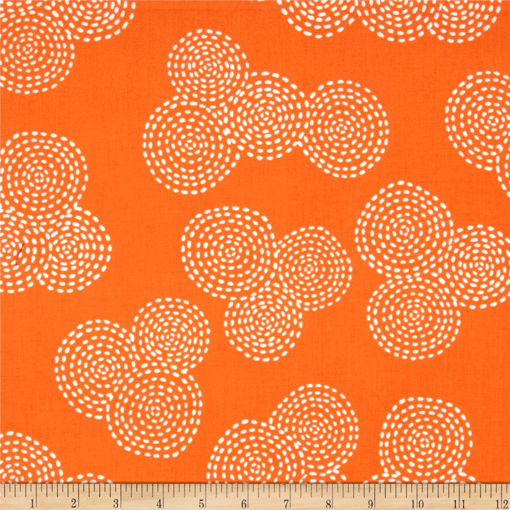Michael Miller Stitch Floral Circle Orange