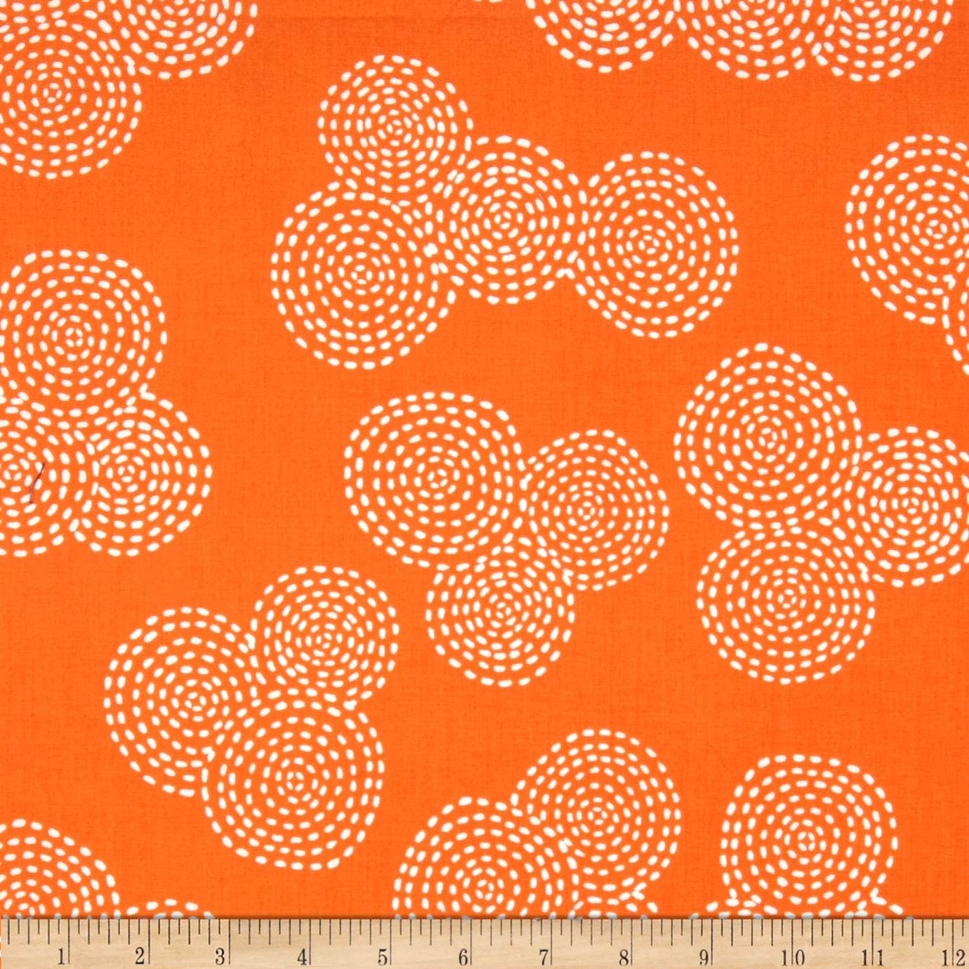 Michael Miller Stitch Floral Circle Orange Fabric