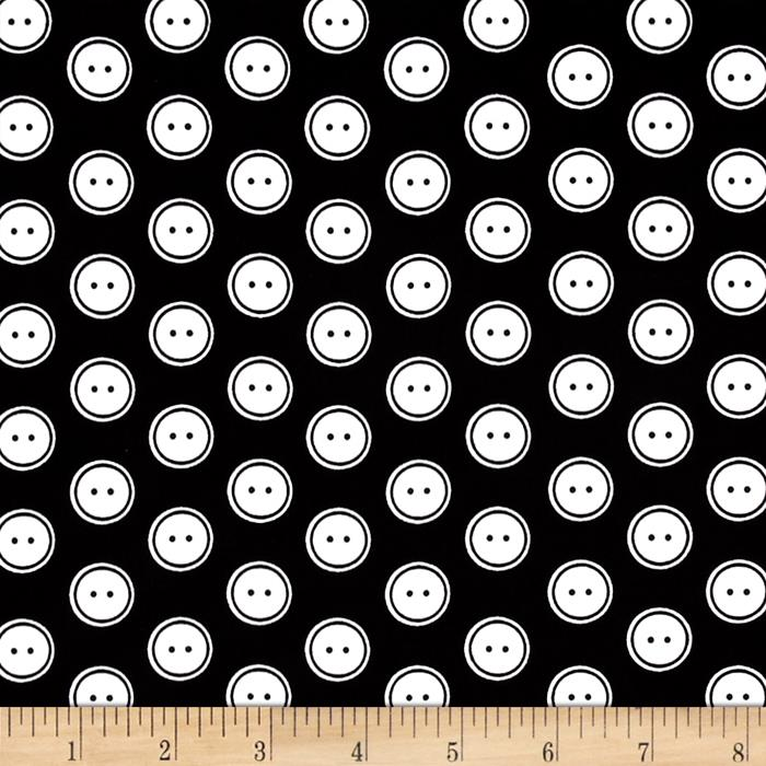 Kanvas Sew Easy Button Dot Black/White Fabric By The Yard