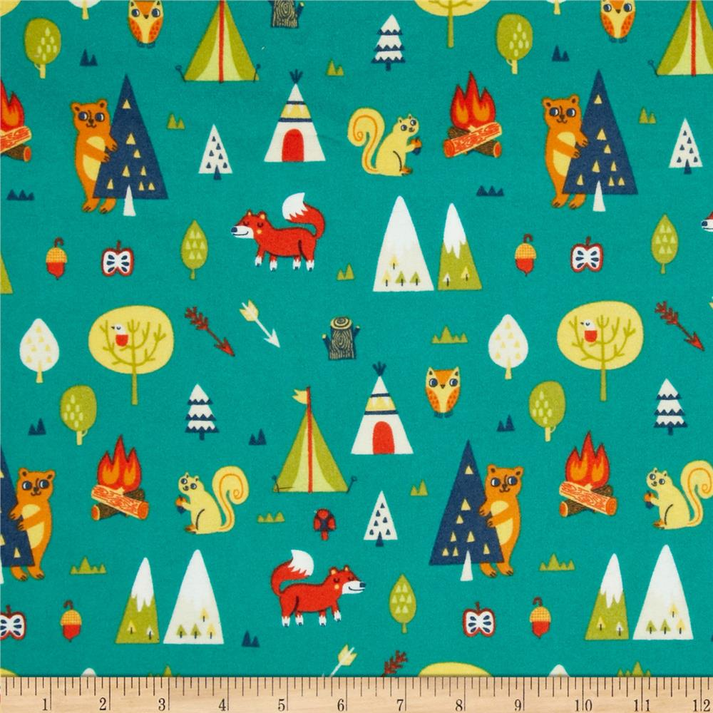 Happy Camper Flannel Camping Trip Turquoise
