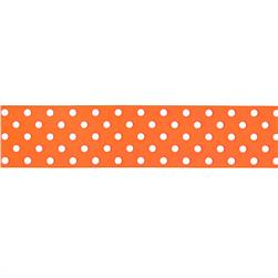 "May Arts 1 1/2"" Grosgrain Dots Ribbon Spool Orange/White"