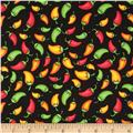 Fabric Fiesta Chili Peppers Black