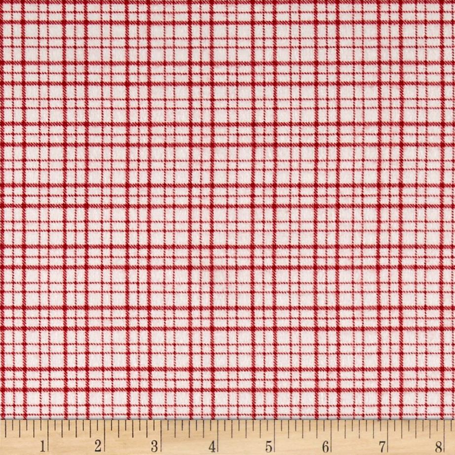 Mad for Plaid Flannel Mono Plaid White/Red Fabric