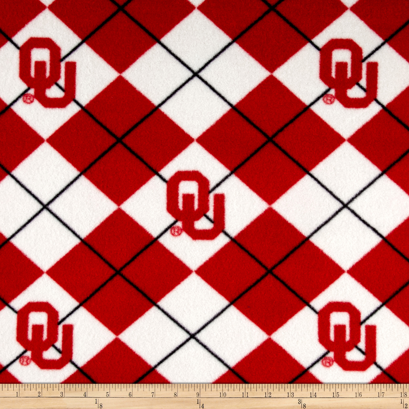 Collegiate Fleece University of Oklahoma Crimson Fabric