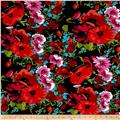 Dakota Jersey Knit Floral Print Poppy/Black