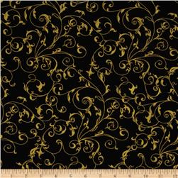 "110"" Wide Quilt Backing Filigree Black/Gold"