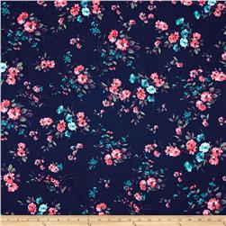 Double Brushed Poly Spandex Jersey Knit Floral Navy/Pink/Turquoise