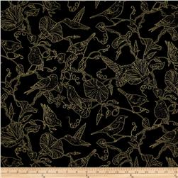 Timeless Treasures Metallic Morning Glory Bird Toile Black