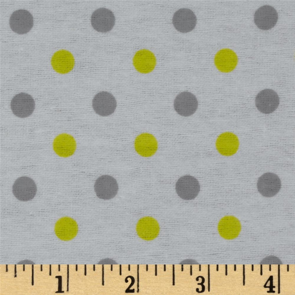 Dreamland Flannel Happy Dots White/Sunshine Yellow
