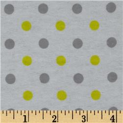 Dreamland Flannel Happy Dots White/Sunshine Yellow Fabric