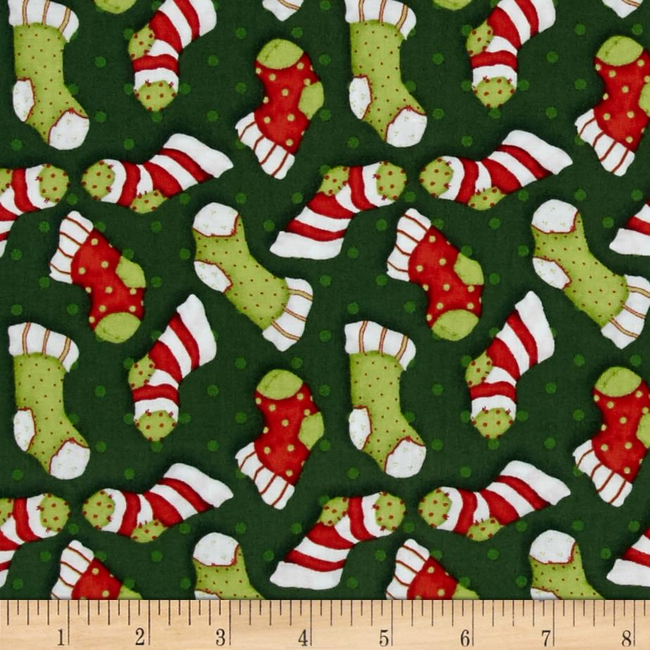 Kringle Krossing Tossed Stockings Green