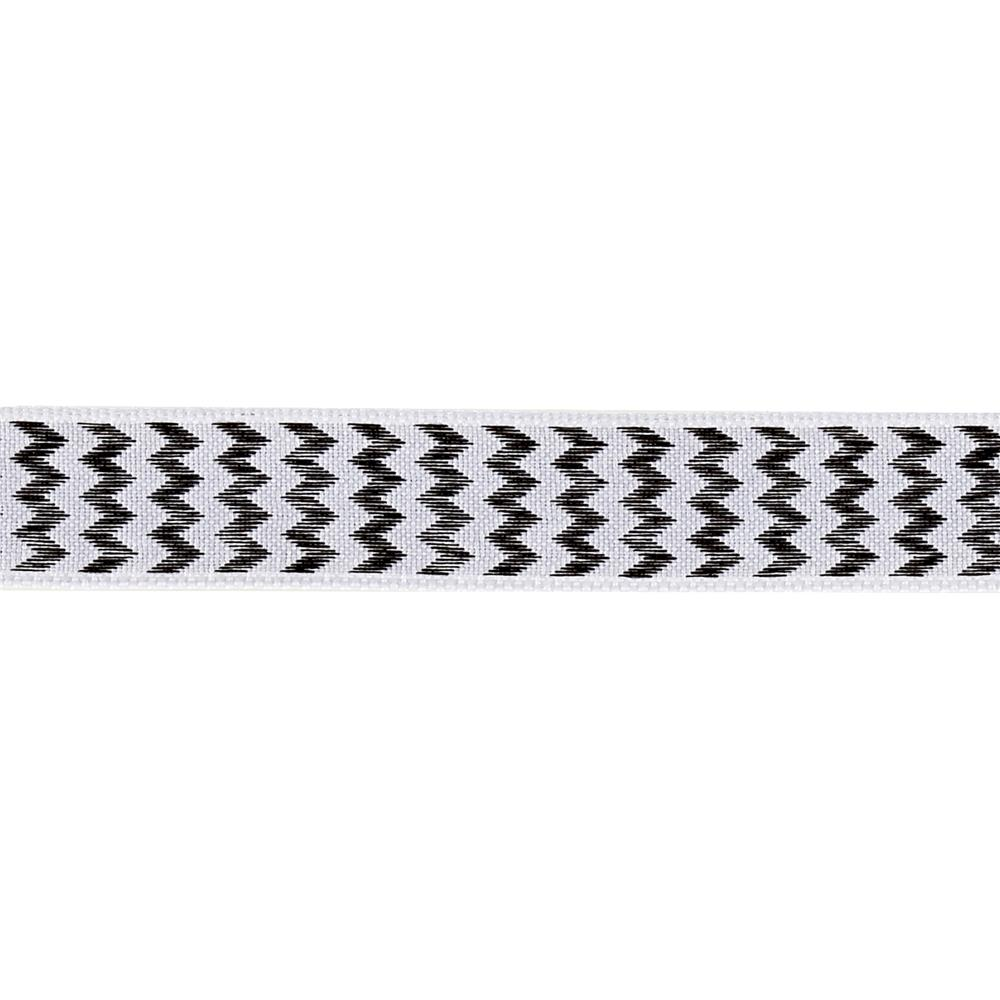 "5/8"" Chevron Stripe Wired Ribbon Black"