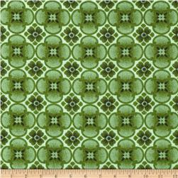 Timeless Treasures Orchids Clover Geo Quatrefoil Green